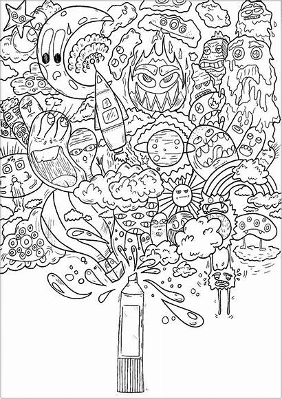Doodle Coloring Magic Printable Pages Adults Doodling