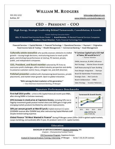 Executive Resume by 2017 Resume Trends Award Winning Executive Resume By
