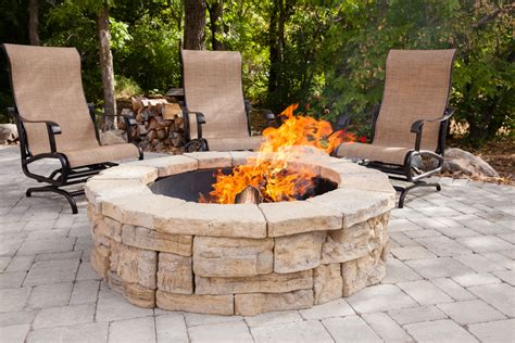outdoor pit kits functional rounded garden stones firepit backyard