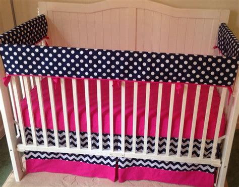 navy and pink bedding bumperless crib bedding set pink and navy pink