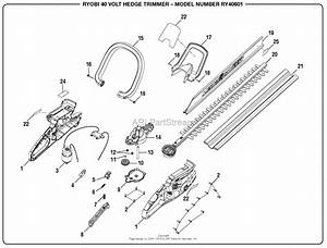 Homelite Ry40601 Hedge Trimmer Parts Diagram For General Assembly