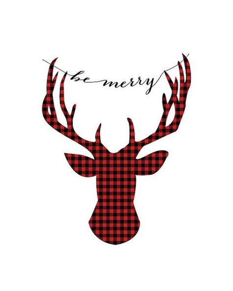 deer antlers and plaid for christmas buffalo plaid deer quot be merry quot typography print 8 x10