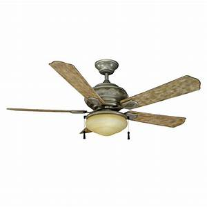 Hampton bay portsmouth in led indoor outdoor cambridge silver ceiling fan with light kit