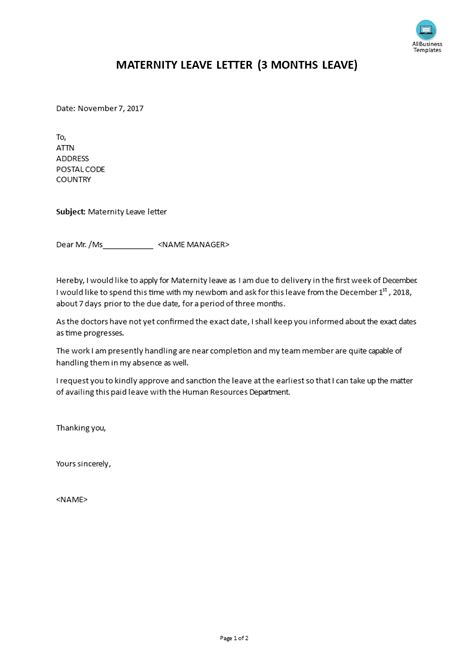 Maternity Leave Letter - How to draft a maternity Leave Letter in a professional way? Download