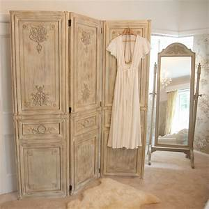 Limed Wooden Dressing Screen, French Bedroom Company