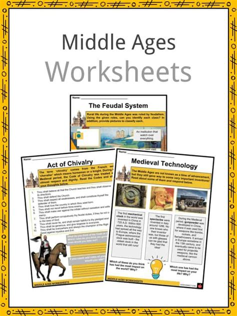middle ages facts worksheets  culture
