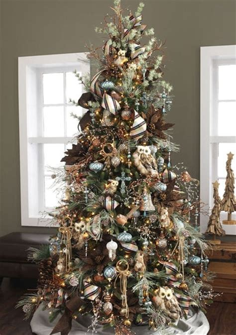 rustic tree with owls rustic christmas tree ideas