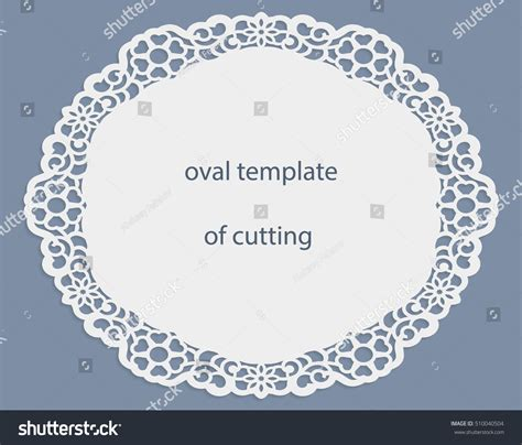 greeting card openwork oval border paper stock vector