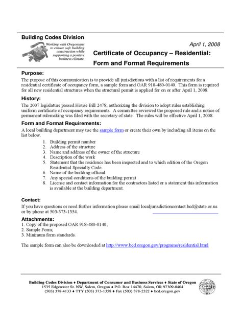 certificate  occupancy form   templates
