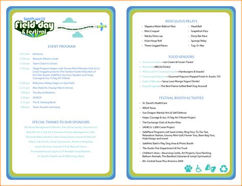 Program Templates by Event Program Template Great Printable Calendars