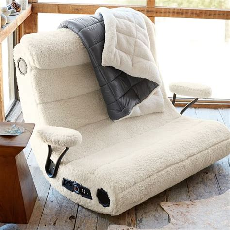 ivory sherpa faux fur got speaker media chair