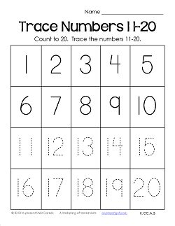 trace numbers 1 20 worksheets trace numbers 11 20 a wellspring