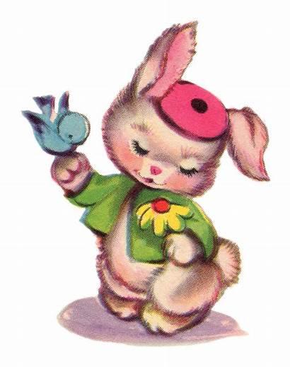 Clip Bunny Easter Pretty Clipart Victorian Bluebird
