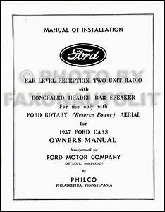 1937 Ford Radio Owners Manual And Installation Book Philco
