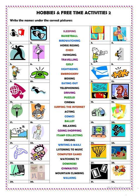 hobbies  activities  english esl worksheets