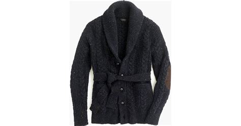 J.crew Donegal Wool Belted Shawl Cardigan Sweater In Blue For Men (dark Navy)