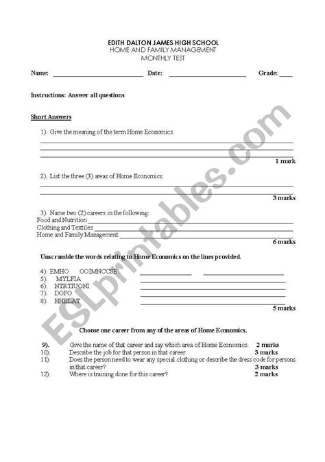 worksheets introduction to home economics