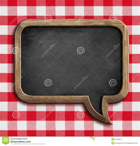 Menu Chalkboard Speech Bubble On Picnic Tablecloth Stock