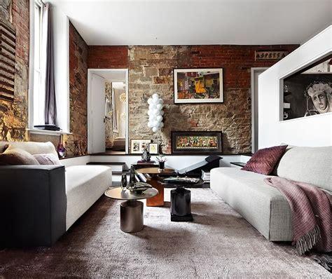 brick walls living room interior design ideas