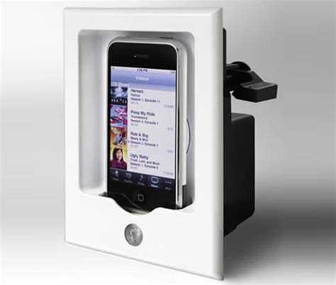 iphone wall mount in wall iphone mount for your home theatre macgasm