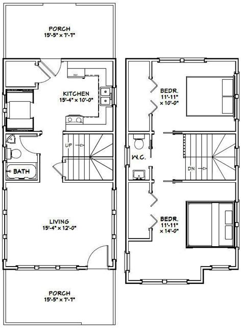 Large 2 Bedroom House Plans by Details About 16x30 House 2 Bedroom Pdf Floor Plan