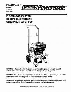 Coleman Powermate Pm0422505 Generator Owners Manual