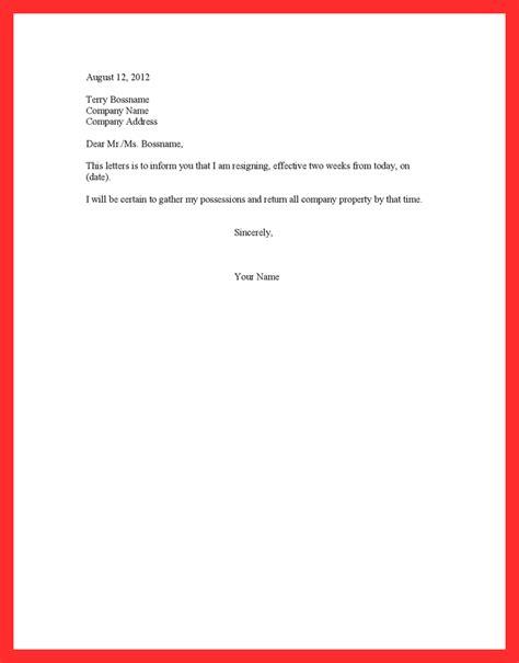 proper letter format 2 proper 2 weeks notice resume format