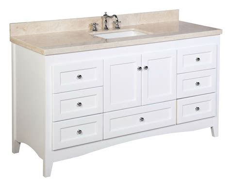 White Bathroom Vanity With Marble Top by 60 Quot White Shaker Bathroom Vanity W Crema Marfil Beige