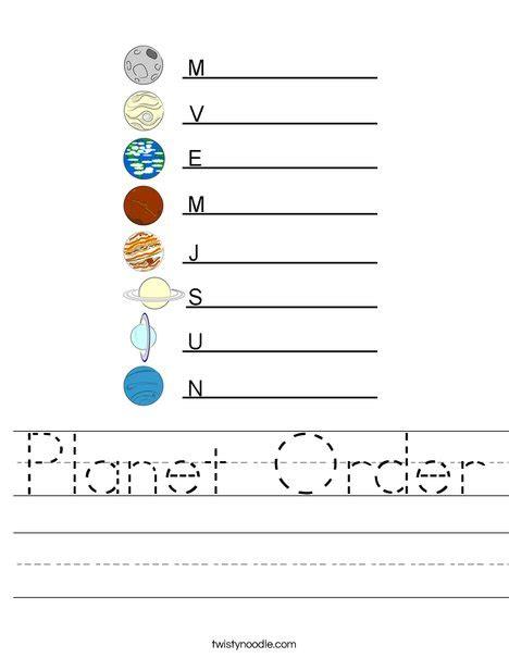 planet order worksheet twisty noodle