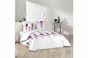 Parure De Lit 140x190 : parure housse de couette 2 taies d 39 oreiller blanc imprim plumes violet et gris 100 coton lit ~ Teatrodelosmanantiales.com Idées de Décoration