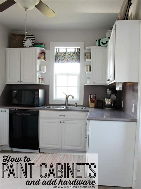 How to Paint Cabinets and Add Hardware {Kitchen Makeover