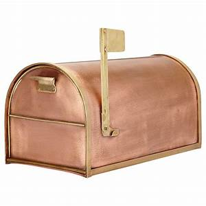 Classic, Post, Mount, Copper, Mailbox, With, Brass, Accents