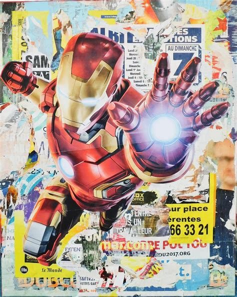 manucollage ironman decollage  canvas mixed media
