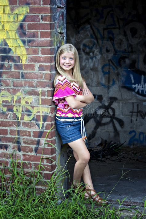 Cute Little Blonde Girl At Graffiti Wall Stock Images Image 25854204