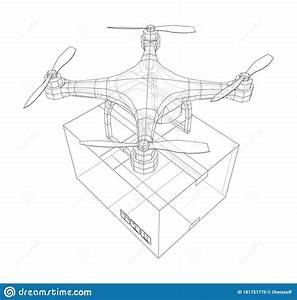 Delivery Drone Concept Outline  Vector Stock Vector