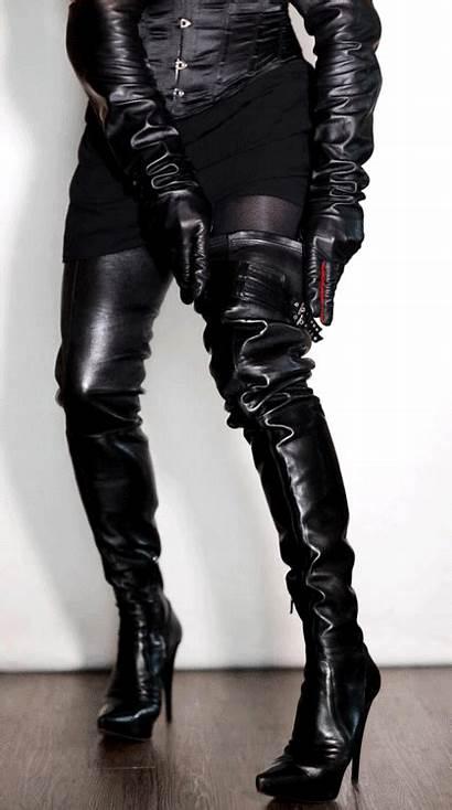 Boots Heels Leather Thigh Stiletto Adjustment Fetish