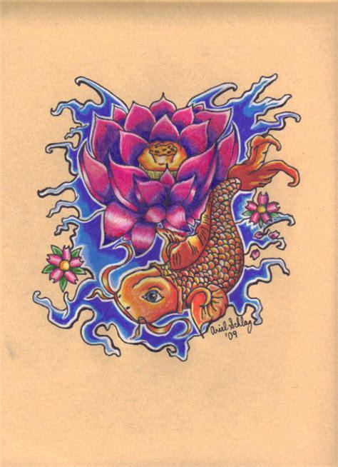 koi fish  lotus flower  princessmononokesan  deviantart