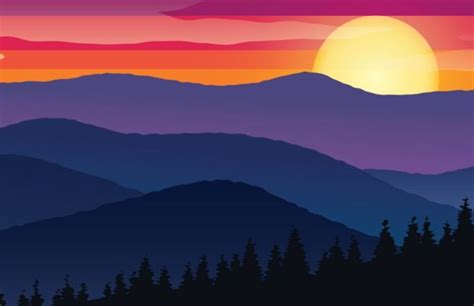 Free Valley Sunset Scenery Vector Illustration - TitanUI