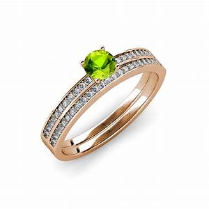 650 mm peridot diamond engagement ring wedding band for Peridot wedding ring set