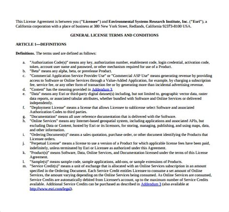 license agreement samples templates examples sample