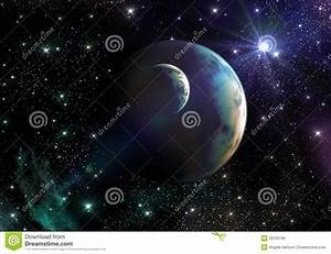 Earth-like Planets In Space With Stars And Nebula Royalty ...