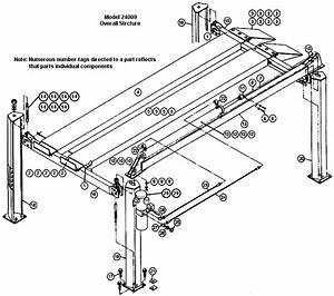 Auto Lift Parts  Overall Breakdown  For Challenger  Vbm  Model 24009 4 Post Lifts  Svi