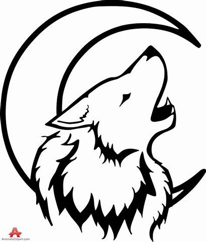 Wolf Howling Moon Drawing Clipart Outline Tribal