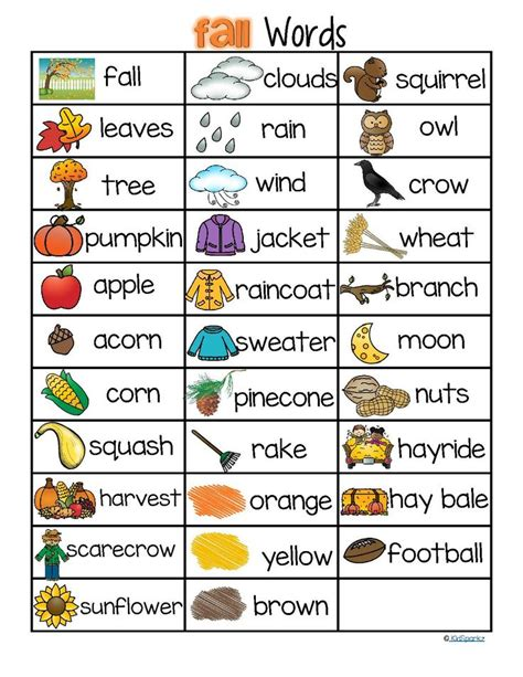 fall autumn vocabulary list 32 words and pictures free