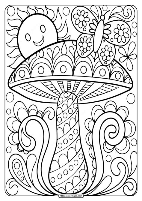 printable mushroom adult coloring page