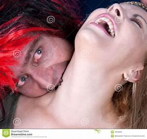 A Vampire Biting Young Beautiful Woman Stock Photos ...