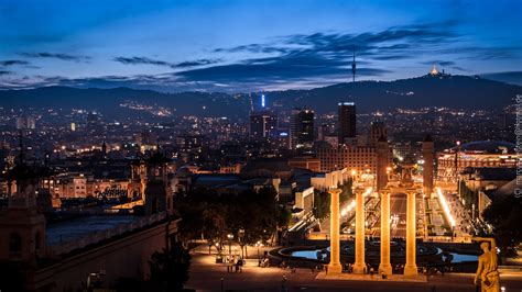 cityscapes, skyline, night, summer, Barcelona, Spain ...