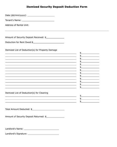 tenant security deposit refund form free printable legal form itemized security deposit