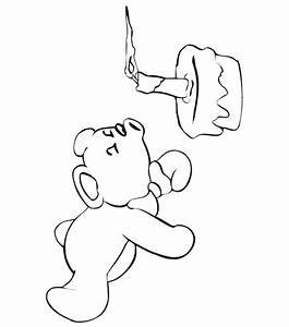 Birthday Coloring Page | A Teddy Bear Blowing Out Candles ...