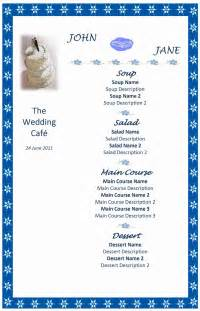 free wedding menu templates wedding menu freewordtemplates net